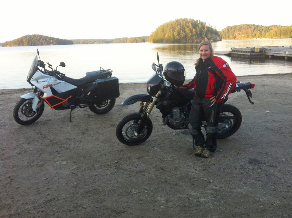 Riding with my daughter at Mary Lake in Port Sydney, Ontario